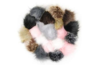 (B-Color) - Cieovo 20 Pieces Faux Fur Pom Pom Ball DIY Fur Pom Poms for Hats Shoes Gloves Scarves Bag Pompoms Keychain Charms Knitting Hat Accessories (Popular Mix Colours)