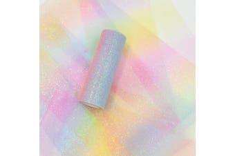 (Rainbow) - NICROLANDEE Rainbow Glitter Tulle Rolls 15cm x 10 Yards (9.1m) Shimmer Colour for Table Runner Chair Sash Bow Pet Tutu Skirt Sewing Crafting Fabric Wedding Unicorn Party Birthday Gift Ribbon
