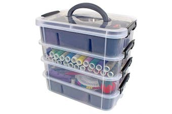 (Gray) - Stackable Plastic Storage Containers by Bins & Things | Plastic Storage Bin with 2 Trays | Bins for Arts Crafts Supplies | Jewellery Making Storage Box | Portable Storage Box (Grey)