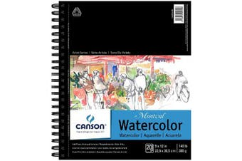 Canson Artist Series Montval Watercolour Paper Pad, Heavyweight Cold Press and Micro-Perforated, Side Wire Bound, 60kg, 23cm x 30cm , 20 Sheets (400054498)