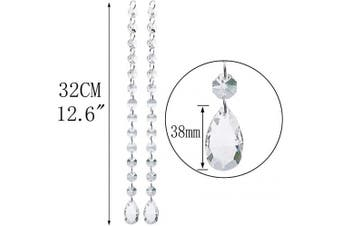 (Crystal Pendants) - 10Pcs 32cm Crystal Chandelier Pendants Beads Chain Parts Glass Beads Teardrop Crystal Strands for Wedding and DIY Craft Jewellery Decoration