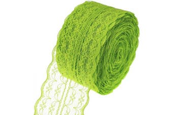 (Green) - ATRibbons 25 Yards 4.4cm Wide Floral Pattern Lace Trim Roll Colourful Lace Fabric Ribbon for Sewing Making,Gift Wrapping and Bridal Wedding Decorations (Green)