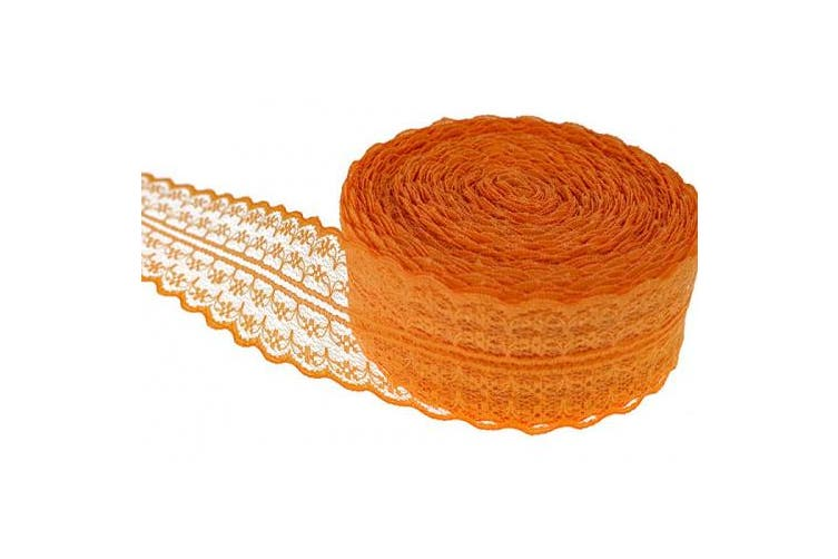 (Orange) - ATRibbons 25 Yards 4.4cm Wide Floral Pattern Lace Trim Roll Colourful Lace Fabric Ribbon for Sewing Making,Gift Wrapping and Bridal Wedding Decorations (Orange)