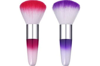 2 Pieces New Soft Nail Tools Legal Brush Remove Dust Powder for Acrylic Nails And Nail Art Dust Cleaner Nail Brush - Random Colour