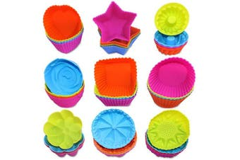 36 Pcs Silicone Cupcake Baking Cups, AIFUDA Reusable Mini Cake Cups Liners Mould Nonstick Muffin Donut Pan, 9 Shapes
