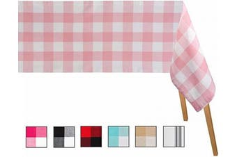 (Table Cloth (160cm  X 320cm ), Checked ( Baby Pink and Cream)) - Buffalo Plaid Tablecloth - Chequered Table Cloths -Buffalo Plaid Tablecloth - Baby Pink Plaid Tablecloth- Buffalo Cheque Tablecloth (63 X 126), Checked (Baby Pink and White)