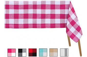 (Table Cloth (160cm  X 320cm ), Checked (Pink & White)) - Buffalo Plaid Tablecloth - Checked Tablecloth Cotton - Chequered Tablecloth - Buffalo Plaid Pink Tablecloth - Large Table Cloths Rectangle - Buffalo Checked Table Cloth ((63 X 126), (Pink and