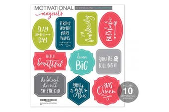 Motivational Magnet Sheet, 1 Sheet of 10 Magnets, Girl Power Locker Magnets, Positive Affirmation Refrigerator Magnets