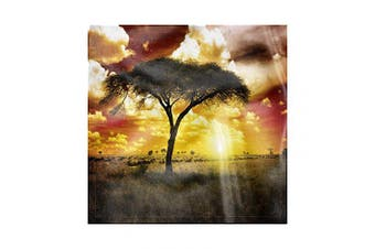 (46cm , Green Red White) - Ambesonne African Cloth Napkin Set of 4, Sunset in Safari Animal, 46cm , Green Red White