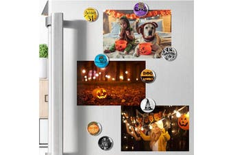 (Halloween) - Cosylove 16pcs Refrigerator Magnets, Crystal Glass Fridge Magnets for Office Cabinets, Whiteboards, Photos, Beautiful Decorative Magnets for, Decorate Home (Halloween)
