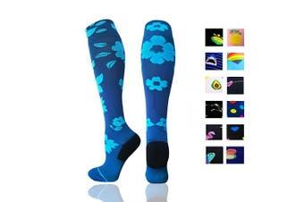 (Large/X-Large, Flower) - Compression Socks Women & Men - Best for Running,Medical,Athletic Sports,Flight Travel, Pregnancy