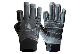 (X-Large, 2 Cut Black/Carbon) - Navis Marine Sailing Gloves for Men Women Rowing Boating Fishing Kayaking All Water Sports Special Palm Perfect UV Protection Short Finger