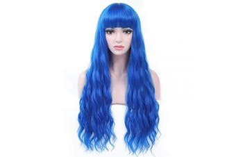 (Sapphire Blue) - COSYCODE Blue Long Wavy Wig With Bangs Curly Synthetic Body Wave Wig for Women