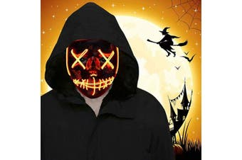 (Orange) - ORWINE Halloween LED Mask Scary Light up Masks Led Purge Mask Halloween Cosplay Costume Party Favours for Adults Kids Women Men, 1pc Orange
