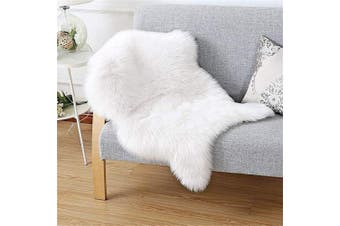 (White, 50 X 80 CM) - HEQUN Faux Fur Sheepskin Style Rug Faux Fleece Chair Cover Seat Pad Soft Fluffy Shaggy Area Rugs For Bedroom Sofa Floor (White, 50 X 80 CM)