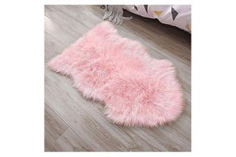 (Pink, 60 X 90 CM) - HEQUN Faux Fur Sheepskin Style Rug Faux Fleece Chair Cover Seat Pad Soft Fluffy Shaggy Area Rugs For Bedroom Sofa Floor (Pink, 60 X 90 CM)