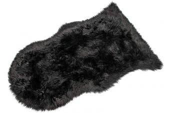 (Black, 50 X 80 CM) - HEQUN Faux Fur Sheepskin Style Rug Faux Fleece Chair Cover Seat Pad Soft Fluffy Shaggy Area Rugs For Bedroom Sofa Floor (Black, 50 X 80 CM)