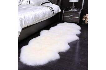 (White, 60 x 160 cm) - HEQUN Faux Fur Sheepskin Style Rug Faux Fleece Chair Cover Seat Pad Soft Fluffy Shaggy Area Rugs For Bedroom Sofa Floor (White, 60 x 160 cm)