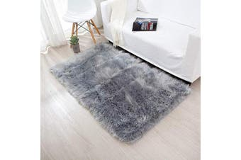 (Grey, 60 x 90 cm) - Faux Fur Rug Soft Fluffy Rug 60 x 90 cm Shaggy Rugs Faux Sheepskin Area Rugs Floor Carpets for Bedrooms Living Room Kids Rooms Decor (Grey)