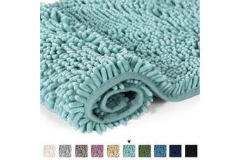 (50 x 80 CM, Duckshell) - H.Versailtex Soft Shaggy Non Slip Absorbent Bath Mat Chenille Bathroom Shower Rugs Shaggy Carpet - Duckshell, 50 x 80 CM