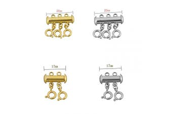 (gold and silver1) - 8Pcs Necklace Sider Clasps Layered Necklace Spacer Clasp Slide Magnetic Tube Lock for Jewellery Crafts (2 & 3 Strand,Gold & Silver)
