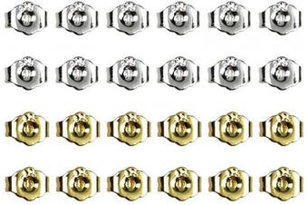 24PCS 925 Sterling Silver and Gold Butterfly Earring Backs Replacement Secure Ear Locking