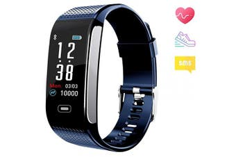 (Blue) - Fitness Tracker Activity Smart Bracelet Wristband Sports Pedometer Waterproof IP67 with Sleep Heart Rate Monitor Call SMS SNS Remind Colour Screen Compatible for Android IPhone for Men Women Kids Teens