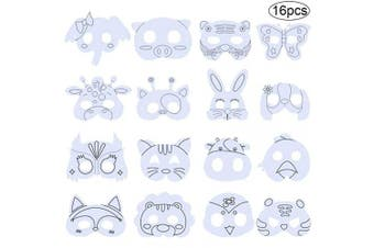 BESTZY Animal Masks Children to Decorate Graffiti Pens Farm Animals Masks Colour Adorable Designs Masks Colour In Animal Face Masks with Elastic Rope for Children to Make or Decorate(16pcs)