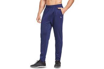 (Large, Leaf Logo-Navy) - BALEAF Men's Tapered Athletic Running Pants Joggers Workout Sweatpants with Pockets