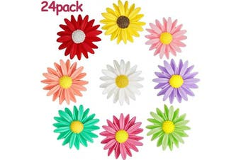 24 Pieces Fridge Magnets Daisy Flower Refrigerator Magnets Colourful Flower Fridge Magnets for Whiteboard Refrigerator Office Photo Cabinet Bulletin Board Decoration