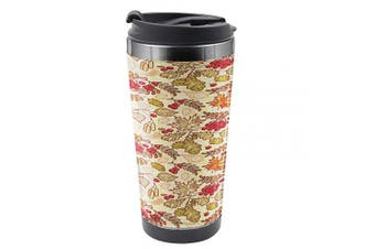 Ambesonne Rowan Travel Mug, Fall Themed Mixed Pattern, Steel Thermal Cup, 470ml, Multicolor