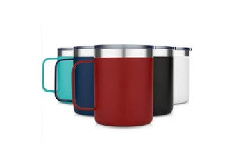 (1 Pack, Red) - Civago Stainless Steel Coffee Mug Cup with Handle, 350ml Double Wall Vacuum Insulated Tumbler with Lid Travel Friendly (Red, 1 Pack)