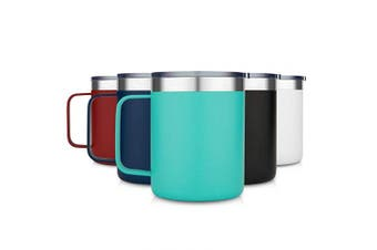 (1 Pack, Aqua) - Civago Stainless Steel Coffee Mug Cup with Handle, 350ml Double Wall Vacuum Insulated Tumbler with Lid Travel Friendly (Aqua, 1 Pack)