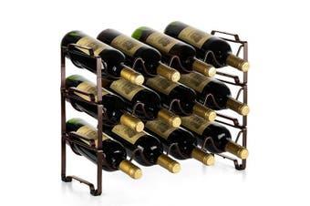 Bextsware 3 Tiers Stackable Metal Wine Rack, 12 Bottles Freestanding Holder Organiser Storage for Kitchen, Bar, Pantry, Wine Cellar, Basement, Countertop, Cabinet - Bronze
