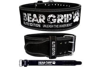(Black, XXL) - BEAR GRIP Power Belt - Elite Edition Premium Double Pong Weight Lifting Belt