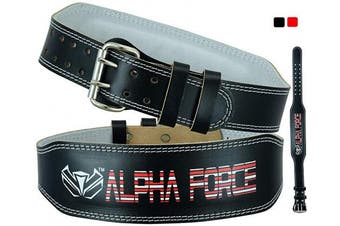 (Black, XL) - ALPHA FORCE PRO Leather Hide Weight Lifting Belt for Men & Women - Great for powerlifitng on Squats, Deadlift, Crossfit and Gym Workouts - Back Support