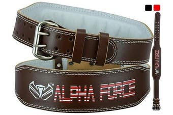 (Brown, S) - ALPHA FORCE PRO Leather Hide Weight Lifting Belt for Men & Women - Great for powerlifitng on Squats, Deadlift, Crossfit and Gym Workouts - Back Support