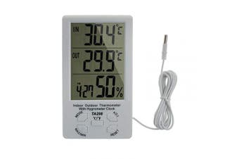 (1Pcs) - eSynic Hygrometer Thermometer Digital LCD Display Humidity Measurement Portable Indoor Outdoor Temperature Metre Probe Sensor for Weather Stations Office Room Greenhouse Hospital Laboratory etc.