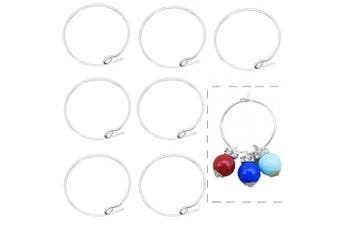 BronaGrand 100 Pieces Silver Plated Wine Glass Charm Rings Earring Hoops 20mm