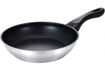 (Frying Pan Nonstick ∣ 24cm) - Eono by Amazon - Nonstick Frying Pan Stainless Steel 24cm Induction Pan with Heat-Resistant Handle Greblon Nonstick Inner Coating Omelette Pan Skillet PFOA Free Oven Safe, JP-2450