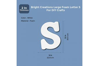 (Symbol S) - Bright Creations Large Foam Letter S for DIY Crafts, 23cm x 30cm , White