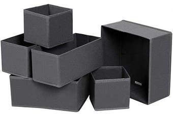 (Grey) - SONGMICS Drawer Organisers, Dresser Dividers, Set of 6, Foldable Fabric Storage Boxes for Socks, Underwear, Bras, Ties, Scarves, Grey RDZ06G