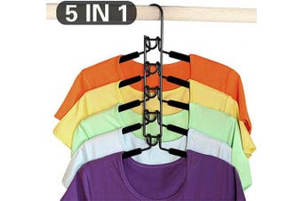 CESHUMD 5 in 1 Clothes Hangers Multi-Layer Wardrobe Clothes Rack Anti-slip Multifunctional Metal Sponge Space Saver Adult Clothes Storage for Household