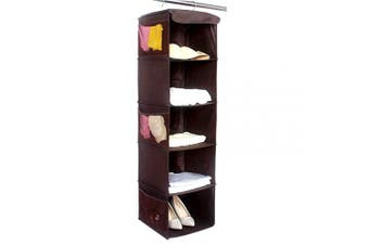 (Brown) - Hanging Wardrobe Closet Storage with 5 Shelves Organiser, BrilliantJo Storage Shelves Unit with 6 Pockets for Clothes - Brown(30 x 30 x 108cm)