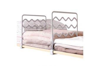 (2 Grey + 2 White) - VINFUTUR 4PCS Closet Shelf Dividers Wardrobe Partition Shelves Divider Separator Clothes Storage Organiser Divider No Drilling Storage Partition Board (2 Grey + 2 White)
