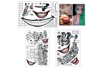 (SS 3) - COKOHAPPY 3 Large Sheets HQ & The Joker Sticker Temporary Tattoos SS Full Body Bundle for Costume Cosplay Accessories and Parties