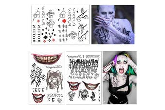 (SS 2) - COKOHAPPY 3 Large Sheets HQ & The Joker Sticker Temporary Tattoos SS Full Body Bundle for Cosplay Accessories and Parties