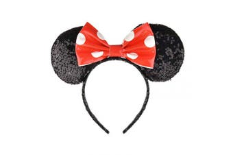 (Black and Red with White Dot) - A Miaow PU Bow Sequin Ears Mickey Mouse Headband Minnie Glitter Hair Hoop MM Hairband Park Supply Photo Shoot Accessory (Black and Red with White Dot)