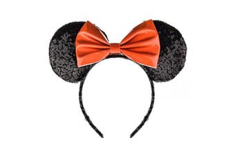 (Black and Red) - A Miaow PU Bow Sequin Ears Mickey Mouse Headband Minnie Glitter Hair Hoop MM Hairband Park Supply Photo Shoot Accessory (Black and Red)
