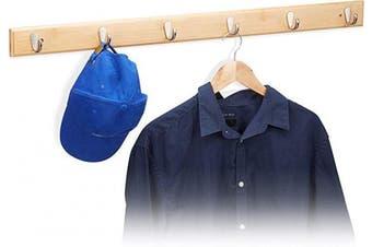 (Large) - Relaxdays Bamboo Wall Hook Bar, Natural Grain, Metal Hooks, Hallway Coat Rack, Towel Holder, 6 Hooks, HWD: 6x88x5cm, Natural